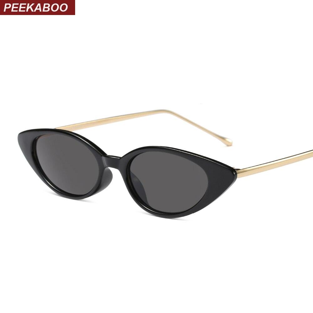 Peekaboo pequeño gato ojo gafas de sol mujer marca diseñador metal negro rojo leopardo verde oval gafas de sol para las mujeres regalo