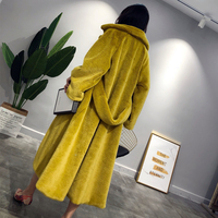 Nagodo Trench Coat For Women Mink Faux Fur Coat Winter Thick Warm Long Overcoat white Pink Loose Oversized Fur Coats plus size L