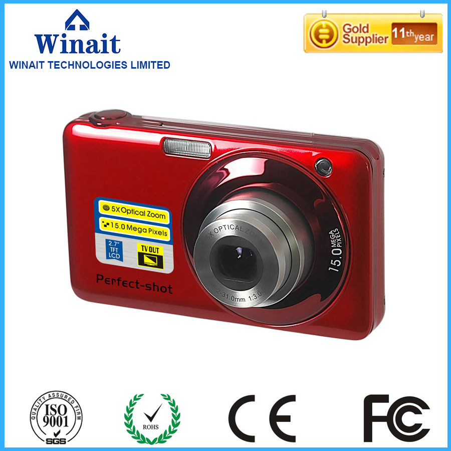 ФОТО Hottest Sale Digital Cameras 15MP 2.7 TFT 5X optical Zoom and 4x digital zoom Smile Capture Anti-shake Video Camcorders DC-V600