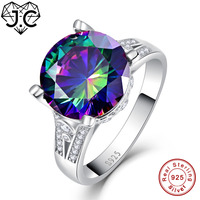 J.C Unisex Fashion Shiny Fine Jewelry Wedding Classic Style Rainbow & Ruby Topaz Solid 925 Sterling Silver Ring Size 6 7 8 9