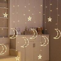 Fairy LED Curtain String Light Star Moon Lamp Warm White 220V Garland Light for Wedding Chrismas Festival Party Decoration