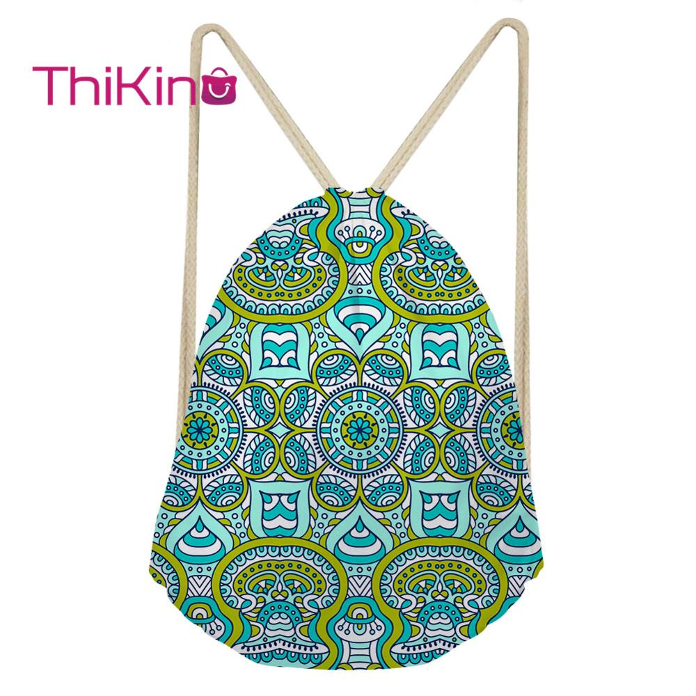 Thikin Bohemian Style Casual Sack Drawstring Bag For Women Travel Backpack Toddler Softback Lady Beach Mochila DrawString Bag