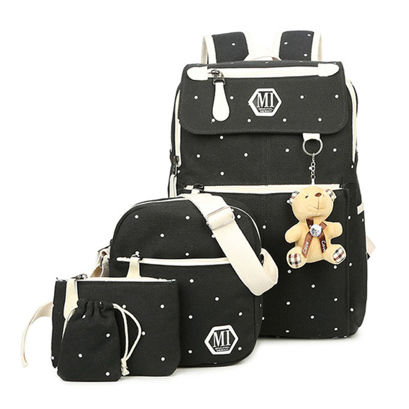 Image 5 - Women Canvas 4Pcs/set School Backpacks College Schoolbag Fashion Plecak for Teenager Girl And Boys Rucksack Moclila Shoulder Bag-in School Bags from Luggage & Bags
