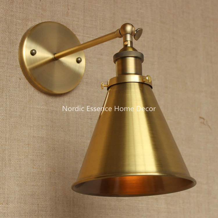 Nordic Industrial style bronze long arm aisle hall lobby classroom aisle stairs hotal restaurant bar copper wall lamp sconce