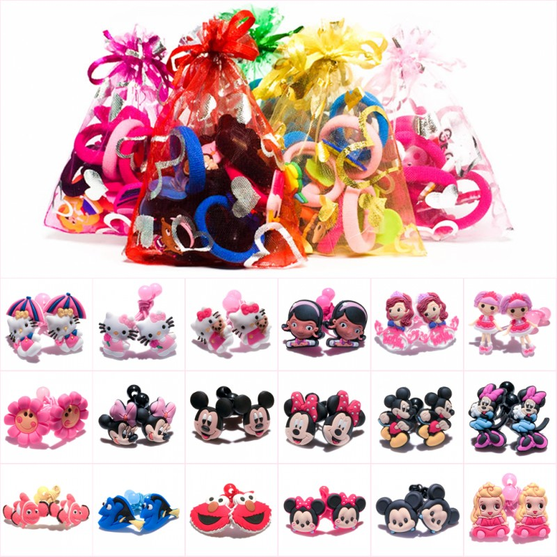 1pair/2pcs Mickey Sesame Street Elastic Rubber Hairbands Ponytail Accessories for Girls   Headwear   Kid Gift