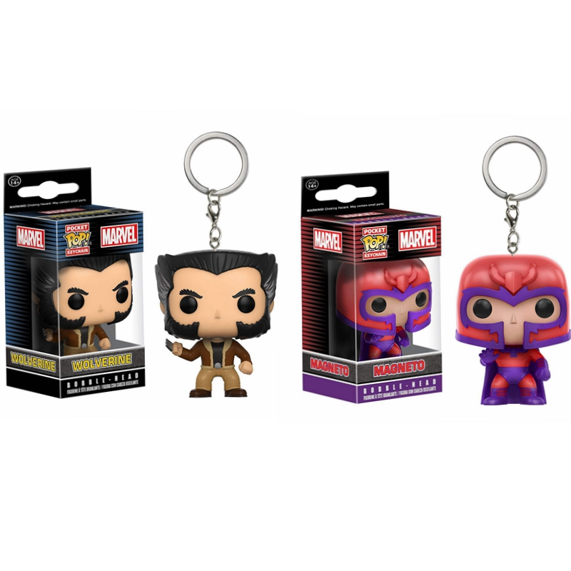 POP X-Men Origins Wolverine & MAGNETO Pocket Pop Keychain Bobble Head Action Figure Collection Model Toys For Children