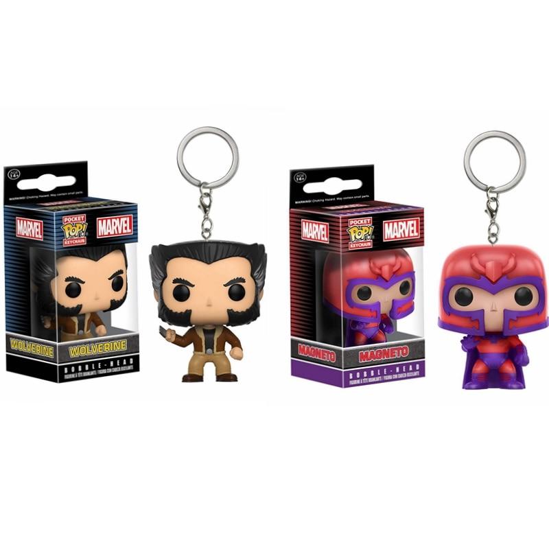 POP X-Men Origins Wolverine & MAGNETO Pocket Pop Keychain Bobble Head Action Figure Collection Model Toys For Children