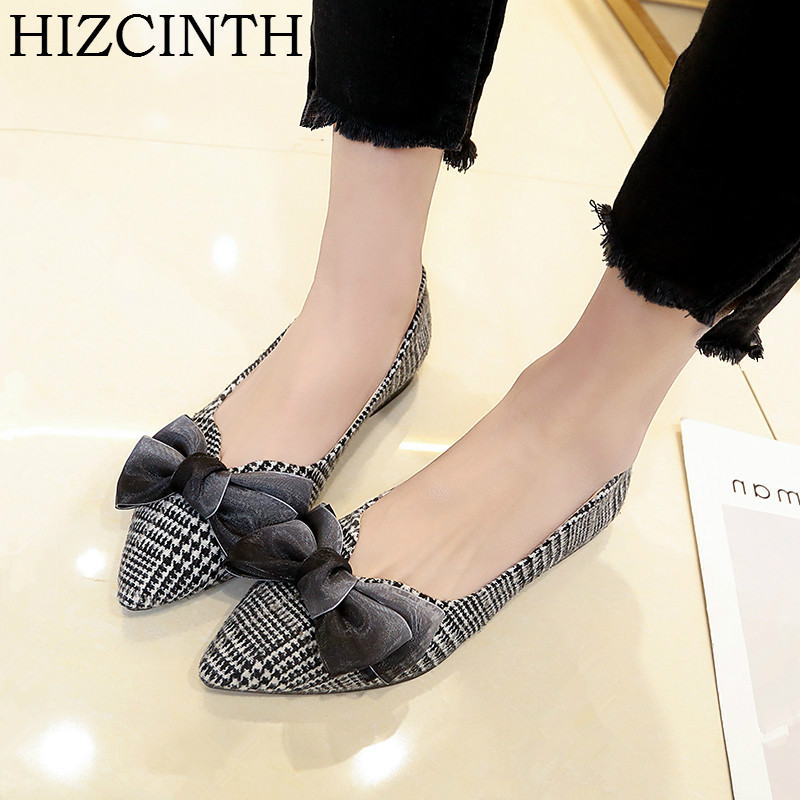 HIZCINTH 2018 Spring Brand Women Shoes Flat Heel Single Shoes Pointed Toe Sweet Butterfly-knot Grid Ballet Flats Shoes Woman drfargo spring summer ladies shoes ballet flats women flat shoes woman ballerinas pointed toe sapato womens waved edge loafer