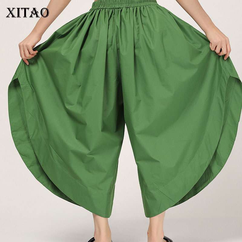 [XITAO] 2019 Summer Korea Fashion New Women   Wide     Leg     Pant   Female Solid Color Pocket Pleated Ankle-length   Pants   ZLL3661