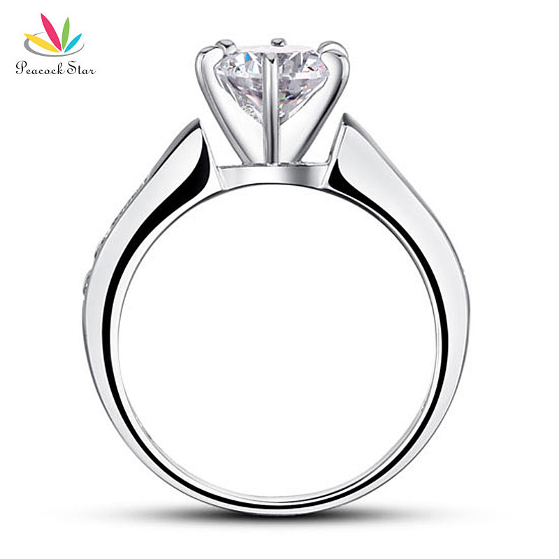 Peacock Star 1.25 Carat Round Cut Solid 925 Sterling Silver Wedding Engagement Ring Jewelry CFR8013