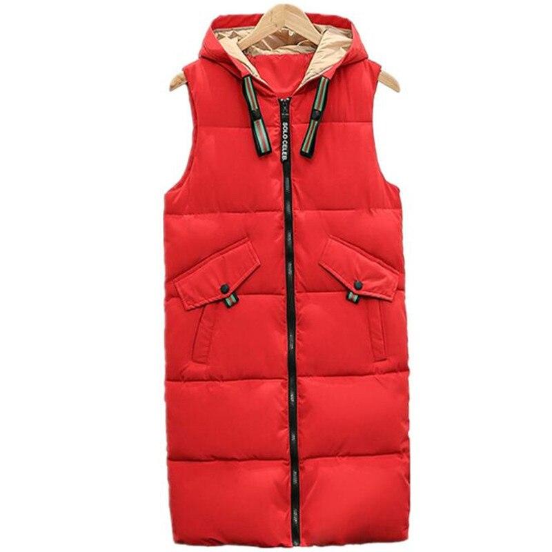 A240 rembourré Red coffee Mode Gilet Sans Veste D'hiver Manches Femmes Coton Solide 2018 Pour white Longue balck Mince Automne Femme Nouveau TwRaPAq