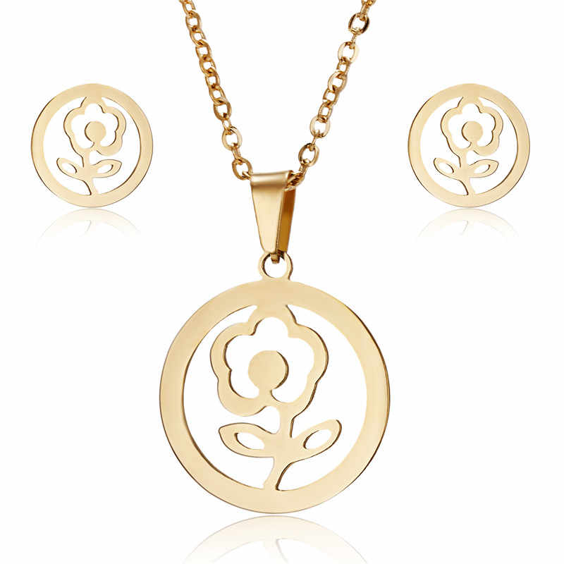 Collier en acier inoxydable de mode définit le cadeau des femmes Rose fleur collier boucles d'oreilles ensembles de bijoux pour les femmes cadeaux de mariage