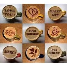16 шт Кофе Торт пластиковый трафарет украшение кекс шаблон форма реалистичные капучино латте трафарет кофе плесень инструменты для приготовления пищи