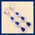 Reginababy New Arrival White simulated Topaz Blue created Sapphire Silver color Jewelry Women Drop Shaped Long Earring