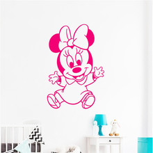 Girls Nursery Wall Sticker Minnie Mouse Room Decoration Cute Beauty Ornament For Kids Cartoon Home Interior Art W7
