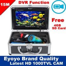 """El Envío Gratuito! Eyoyo Original 15 M 1000TVL HD CAM Profesional Buscador de Los Pescados Pesca Submarina de Vídeo Grabadora DVR 7 """"Monitor en Color"""