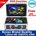 """Frete Grátis! Eyoyo Original 15 M Inventor Dos Peixes de Pesca Submarina Vídeo 1000TVL HD CAM Profissional Gravador DVR 7 """"Monitor a cores"""