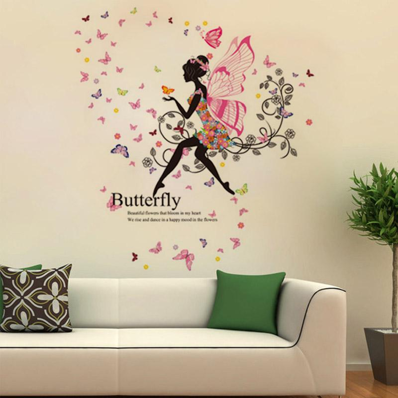 Flowers Fairy Wall Sticker Beautiful Wing Moon Butterfly Girls Stickers  Romantic Sweet Wall Decals DIY In Wall Stickers From Home U0026 Garden On  Aliexpress.com ...