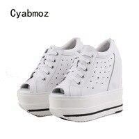 Cyabmoz/Женская обувь, увеличивающая рост, с открытым носком, на платформе, на высоком каблуке, женские туфли лодочки, обувь для вечеринок, Tenis