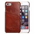 Para iphone 7 case series case de cuero cuero genuino de la vendimia [2 ranuras de tarjeta] ultra delgado casos de cuero de la contraportada para iphone 7 nuevo