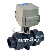 DN15, 20,25, 32,40, 50 PVC Motorisé Ball Valve, DC12V/DC24V 2 façon Plasticelectric ball valve