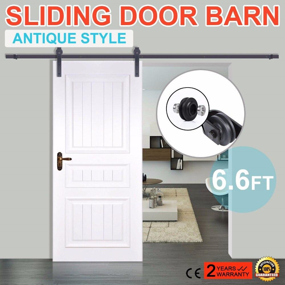 6.6 FT Modern Stainless Steel Sliding Barn Wood Door Closet Hardware Track Set6.6 FT Modern Stainless Steel Sliding Barn Wood Door Closet Hardware Track Set