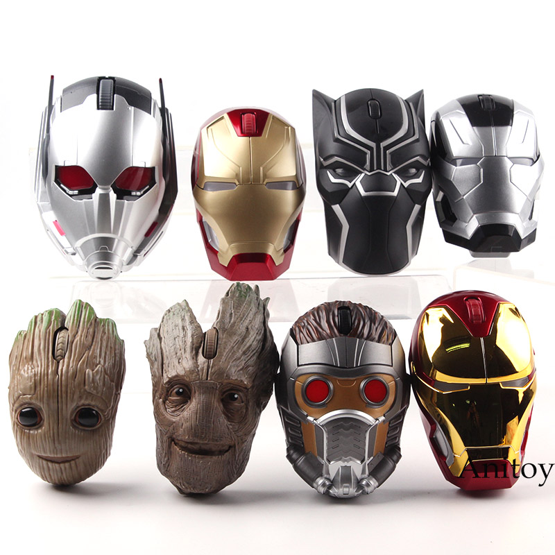 Iron Man MK46 MK50 War Machine Star Lord Tree Man Ant Man Black Panther Action Figure Wireless Mouse Gaming PVC Marvel Toys marvel avengers statues ironman ant man thanos black panther action figure home decoration gift ant man antman iron man statue