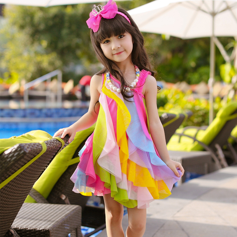 Children Fashion Girl In Tropical Turquoise Beach: New 2017 Summer Sweet Girls Colorful Rainbow Beach Wear