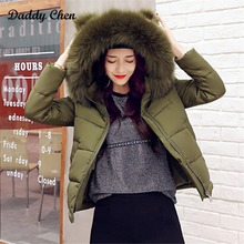 Winter Women Coats Short Jacket Slim Fit Solid Color Army Green Black Baggy Jacket Cute Hooded Cotton Female Basic Tops Ladies