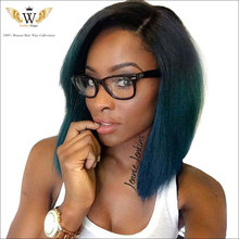 6A 150Density Blue Ombre Human Hair Wig Brazilian Virgin Hair Full Lace Wig Baby Hair Ombre Blue Lace Front Human Hair WIg