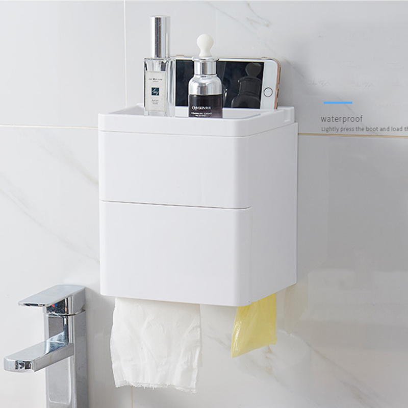 050 Fashion home Wall mounted double layer waterproof paper towel box storage rack garbage bag storage tissue box 20 16 20 5cm in Portable Toilet Paper Holders from Home Garden