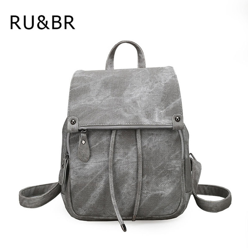 RU BR Hot Sale Backpack Women PU Leather Hasp Backpack Solid Preppy Style Bags For College