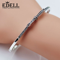 EDELL Fine Jewelry 925 Sterling Silver Bangle With Women Wedding Party Clear CZ Fashion Bow Tie