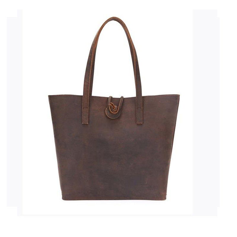 Ladies Genuine Leather Handbag Women Crazy Horse Women's Shoulder Shopper Bag Vintage Female Travel Hobos Totes Bolsas for Girls high quality travel canvas women handbag casual large capacity hobos bag hot sell female totes bolsas ruched solid shoulder bag