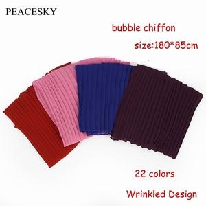 Image 2 - 1 pc plain pleat bubble chiffon wrinkle scarf long stripe shawls hijab crumple pashmian muslim scarves/scarf