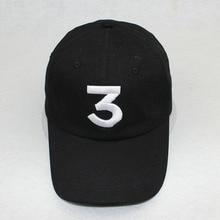 Popular chance the rapper 3 Hat Cap Black Letter Embroidery Baseball Cap Hip Hop Streetwear Strapback