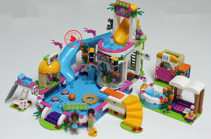 01013 Girls club Heartlake Summer Pool Educational lepin model Building kit block Brick Compatible legoe friends girls gift set loz mini diamond block world famous architecture financial center swfc shangha china city nanoblock model brick educational toys