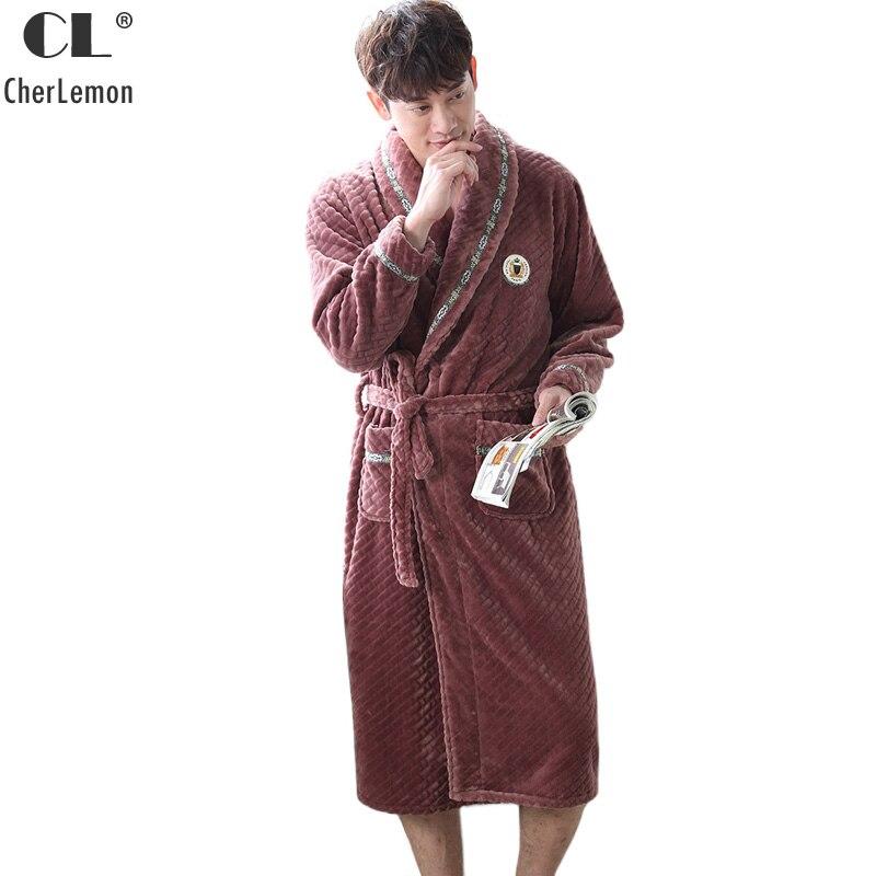 CherLemon Mens Plush Soft Warm Coral Fleece Spa Bathrobe Luxury Flannel Male Kimono Lounge Robe Winter Super Soft Home Clothing