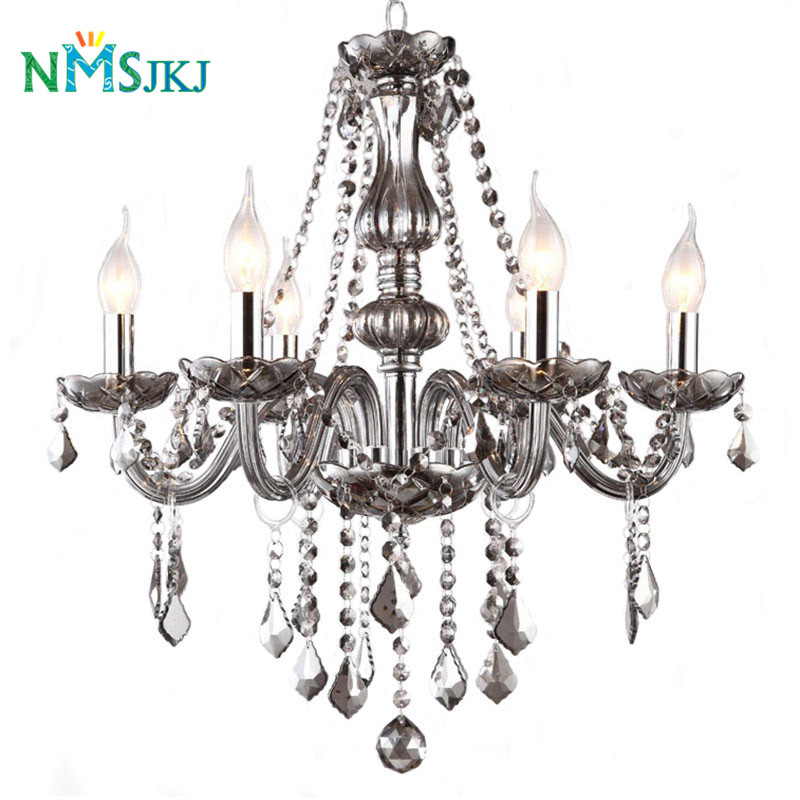 6/8 Light Contemporary Luxury Smoky Gray Glass Crystal Candle Chandelier Lighting Home Decorate Lamp for Living Room,Restaurant chandelier