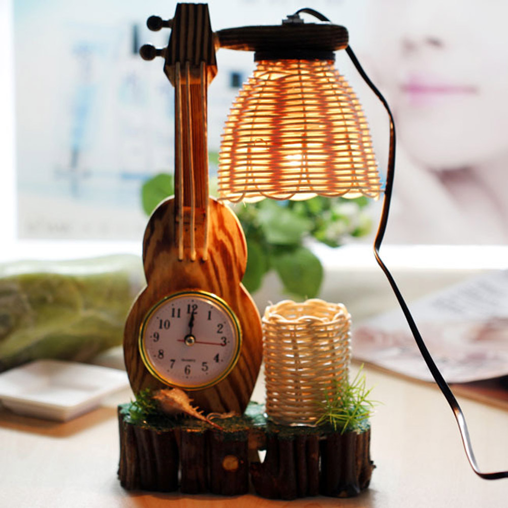 Guitar clock shape cute table lamp novelty gifts for girls bed guitar clock shape cute table lamp novelty gifts for girls bed room letras de madera con luz led in table lamps from lights lighting on aliexpress aloadofball Image collections