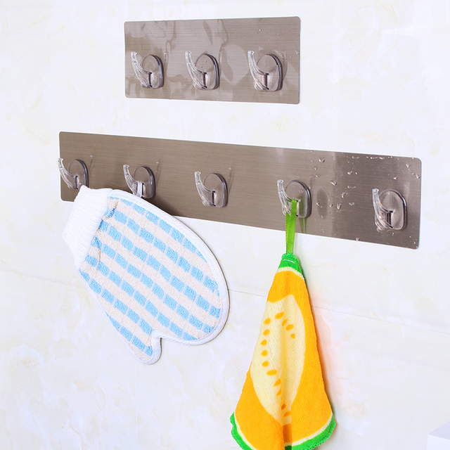 3 In 1 Self Adhesive Wall Hooks Waterproof Oilproof Strong Sticking Kitchen Hook Hanger Clothes Towel Rack Coat Hat