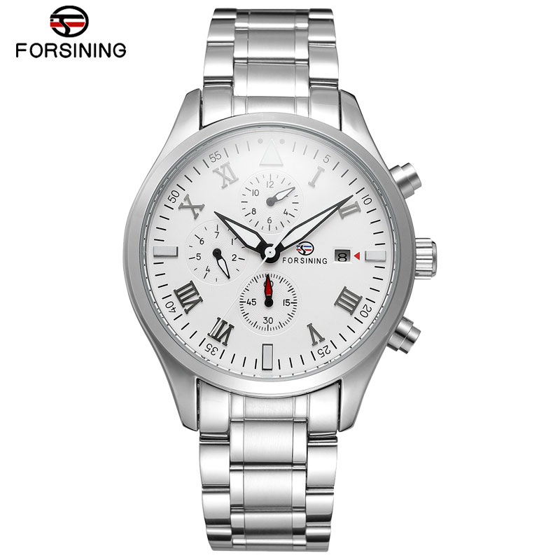 FORSINING Mean Watch Top Brand Luxury Automatic Mechanical Watches Stainless Steel Bracelet High Quality Self-wind Wrist Watch luxury forsining brand new automatic self wind mechanical wrist watch men dress multifunction watches gift present montre reloje