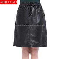 Plus size fashion women high quality Sheep skin luxury High waist drawstring pocket simple black genuine leather pencil skirt