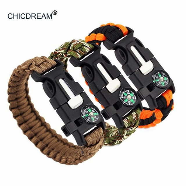 Multifunctional Braided Bracelet Men Paracord Survival Outdoor Camping Rescue Em