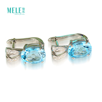 Hot Selling In 2017 Jewelry Trendy 925 Silver Gemstone Jewelry Natural Topaz Earrings For Women