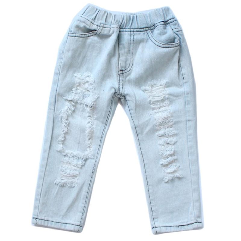 2018 New girls jeans pants big hole jeans fashion rock star children trousers baby girls clothing for 12M-5Y 2017 new designer korea men s jeans slim fit classic denim jeans pants straight trousers leg blue big size 30 34