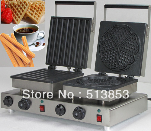 Free Shipping ,Doulbe-Head  Electric Churros Maker + Heart Shape Waffle Maker Machine Baker free shipping high quality doulbe head electric heart shape waffle maker and flower shaped machine baker