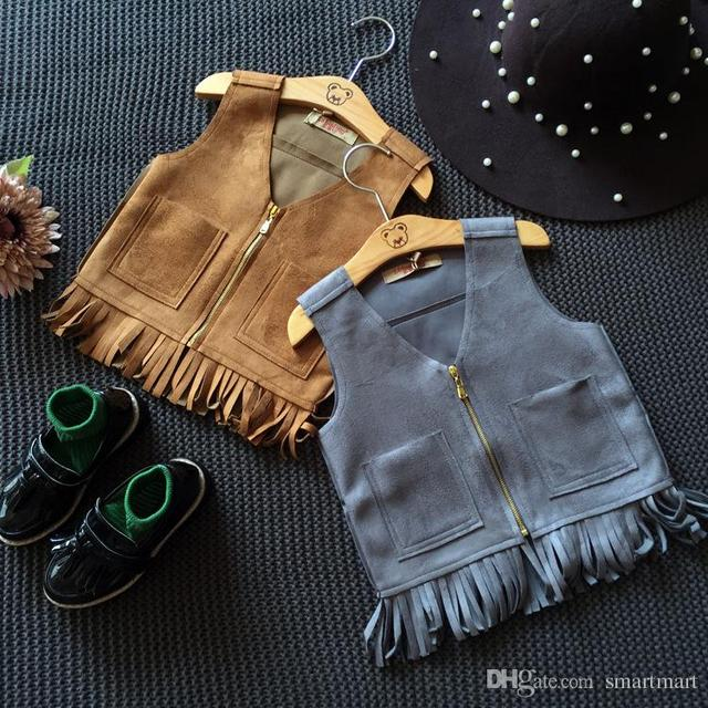 New Kids Girls Suede Leather Tassels Waistcoats Vests Zipper Pockets Brown and Gray Color Western Kid Girl Fashion Jackets