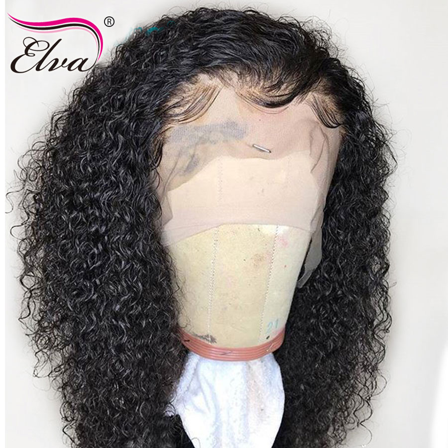 Elva Hair 180% Density 360 Lace Frontal Wig Pre Plucked Curly Lace Front Human Hair Wigs With Baby Hair Brazilian Remy Hair Wigs