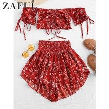 ZAFUL Off Shoulder Cinched Floral Women Set Summer Slash Neck Short Sleeves Crop Top High Waist Shorts Beach Boho Suits